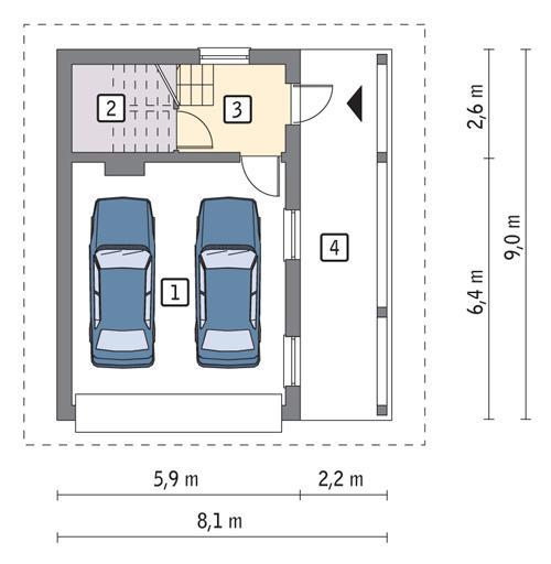 Rzut parteru POW. 39,9 m²