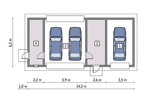 Rzut parteru lustro POW. 77,2 m²
