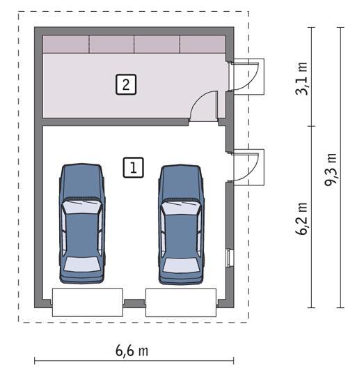 Rzut parteru POW. 51,6 m²