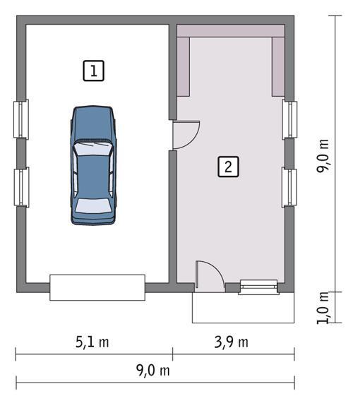 Rzut parteru POW. 68,5 m²