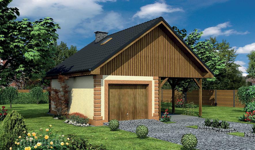 GC94 Garaż z pomieszczeniem gospodarczym, schowkiem i wiatą garażową