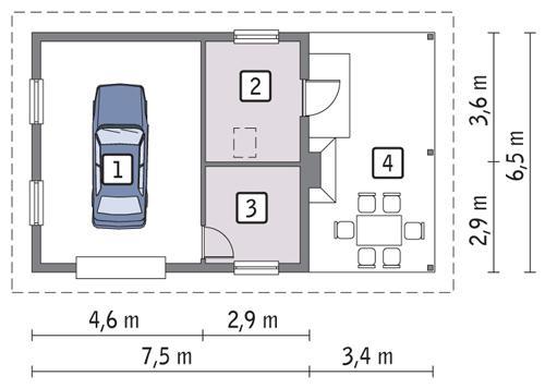 Rzut parteru POW. 40,3 m²