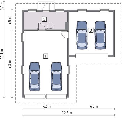 Rzut parteru lustro POW. 103,6 m²