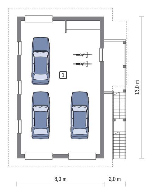 Rzut parteru POW. 88,7 m²