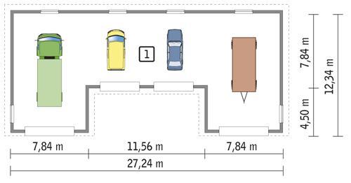 Rzut parteru POW. 258,3 m²