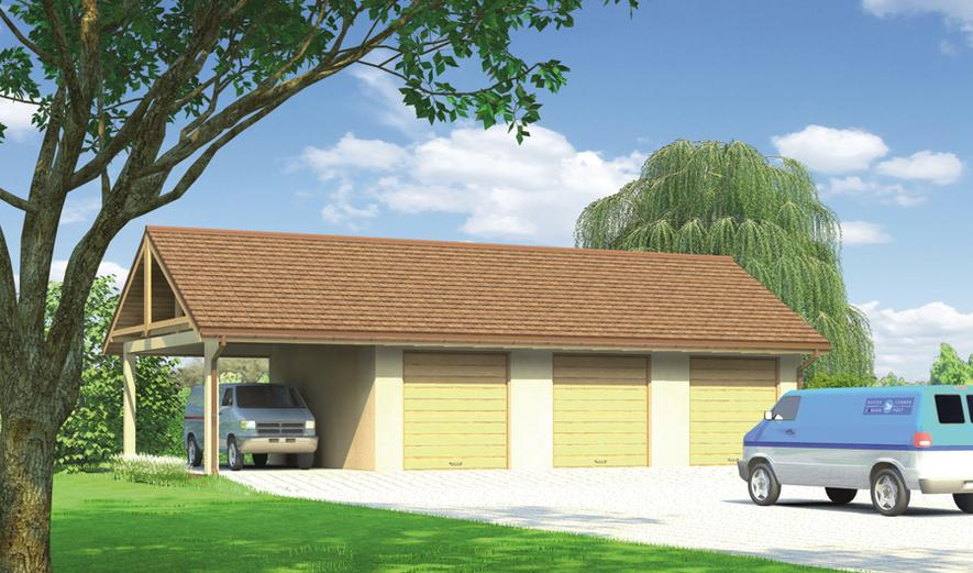 GM03a Budynek garażowo-magazynowy z wiatą
