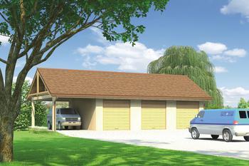 Budynek garażowo-magazynowy z wiatą GM03a