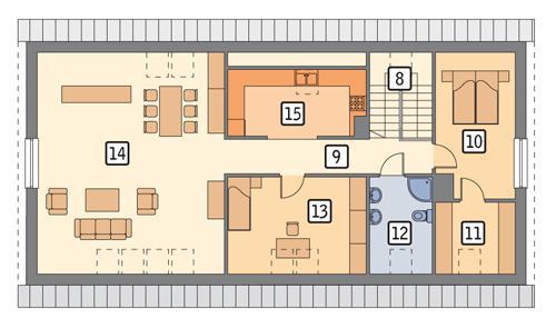 Rzut poddasza POW. 129,2 m²