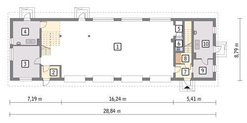 Rzut parteru POW. 206,6 m²