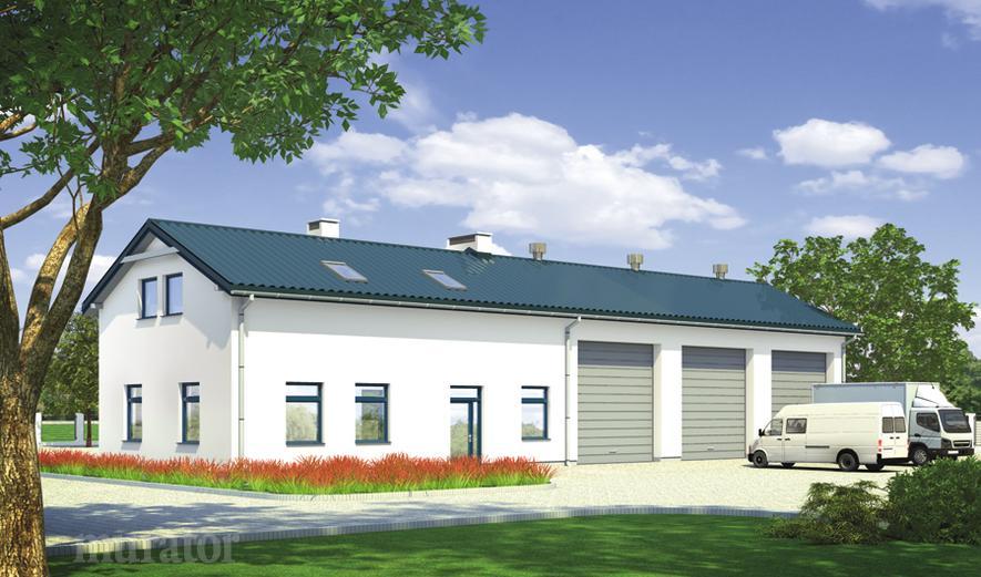 GM05 Budynek garażowo-magazynowy z częścią pomocniczą i poddaszem gospodarczym