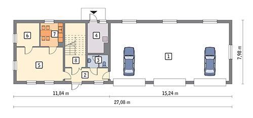 Rzut parteru POW. 180,9 m²
