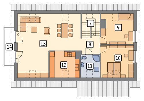 Rzut poddasza POW. 121,8 m²