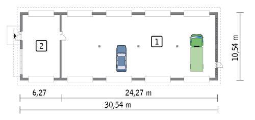 Rzut parteru POW. 286,4 m²