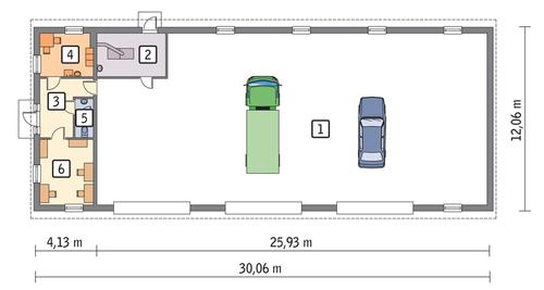 Rzut parteru POW. 322,8 m²