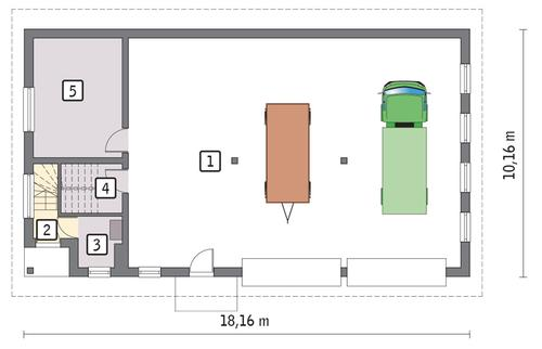 Rzut parteru POW. 150,5 m²