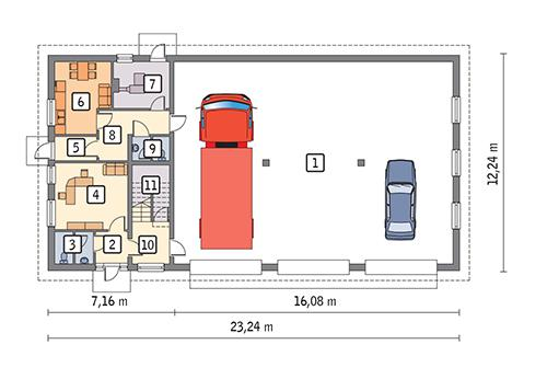 Rzut parteru POW. 235,3 m²