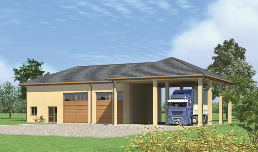 GMC17 Budynek garażowo-magazynowy z wiatą i pom. pomocniczymi