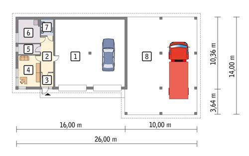 Rzut parteru POW. 278,5 m²