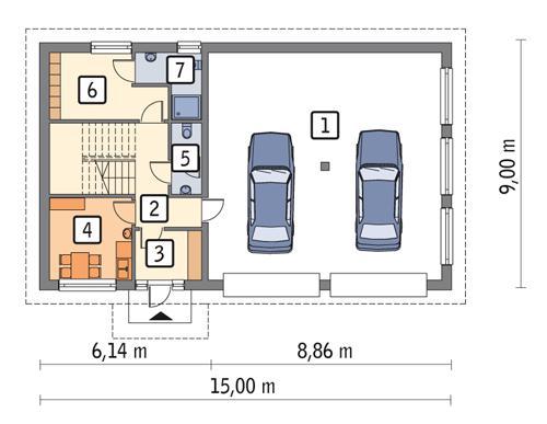 Rzut parteru POW. 104,1 m²