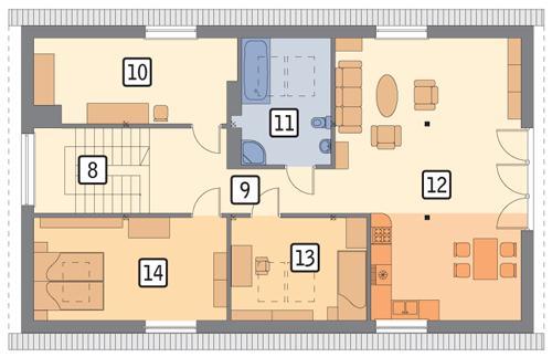 Rzut poddasza POW. 110,7 m²
