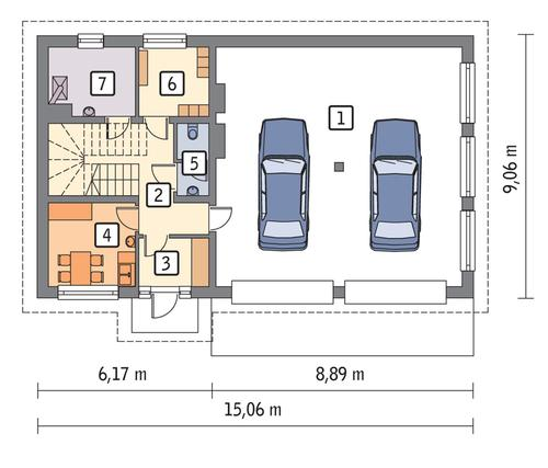 Rzut parteru POW. 109,9 m²