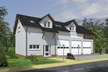Budynek garażowo-magazynowy z częścią mieszkalną