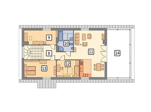 Rzut poddasza POW. 145,4 m²