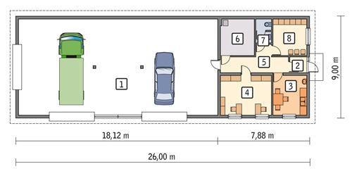 Rzut parteru POW. 200,7 m²