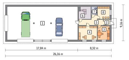 Rzut parteru POW. 200,5 m²