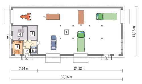 Rzut parteru POW. 405,0 m²