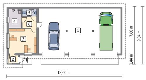 Rzut parteru POW. 116,4 m²