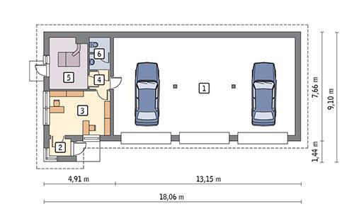 Rzut parteru POW. 115,9 m²