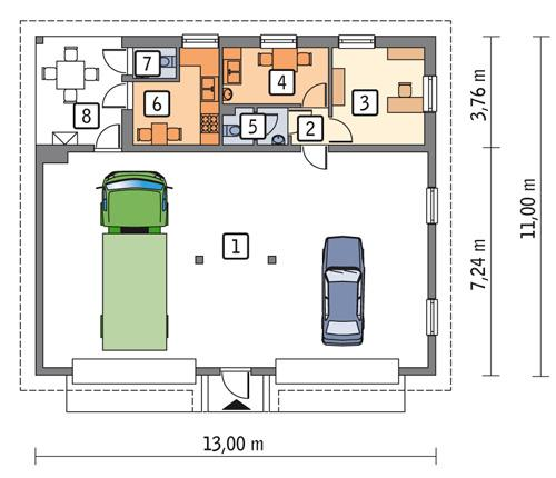 Rzut parteru POW. 112,7 m²