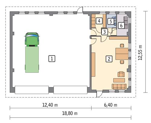 Rzut parteru POW. 204,0 m²