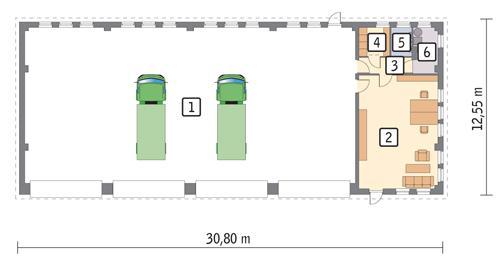 Rzut parteru POW. 341,8 m²