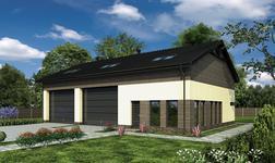Budynek garażowo-magazynowy z pom. pomocniczymi i poddaszem użytkowym