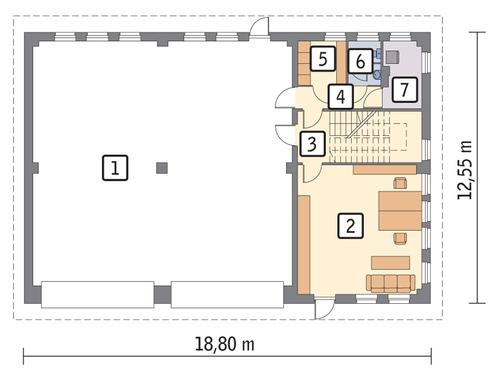 Rzut parteru POW. 197,8 m²