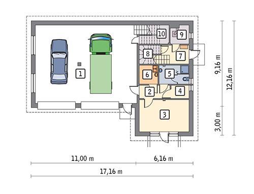 Rzut parteru POW. 141,6 m²