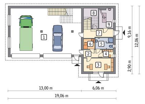 Rzut parteru POW. 157,1 m²