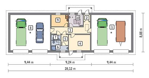 Rzut parteru POW. 206,2 m²