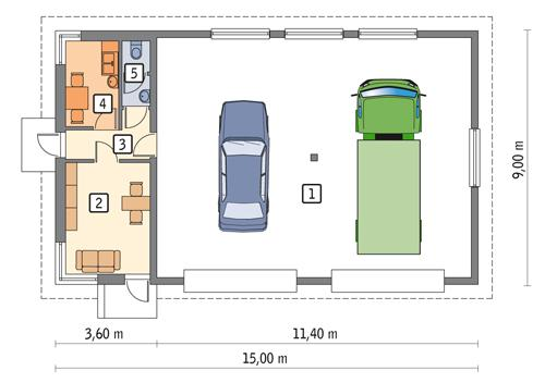 Rzut parteru POW. 113,8 m²