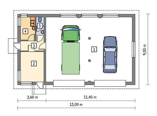 Rzut parteru POW. 113,7 m²