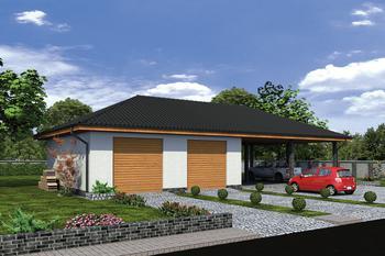 Budynek garażowo-magazynowy z wiatą GMC34