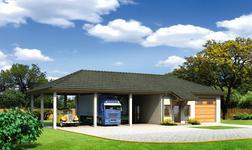 Budynek garażowo-magazynowy z wiatą i pom. pomocniczymi
