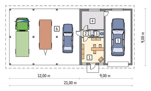 Rzut parteru POW. 64,6 m²