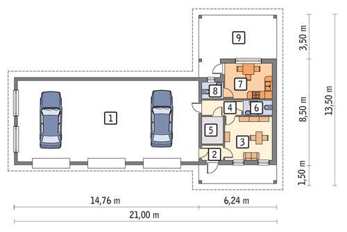Rzut parteru POW. 155,5 m²