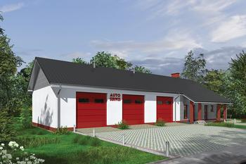 Budynek garażowo-magazynowy z częścią pomocniczą