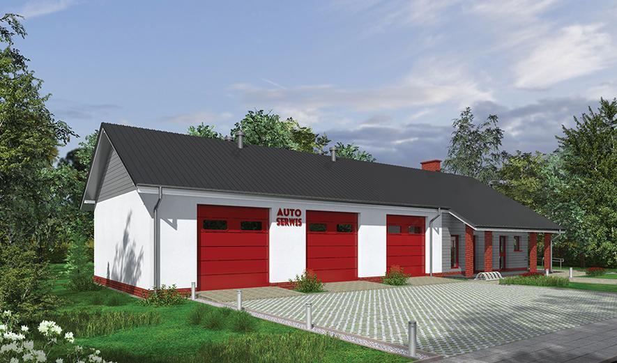 GMC38a Budynek garażowo-magazynowy z częścią pomocniczą