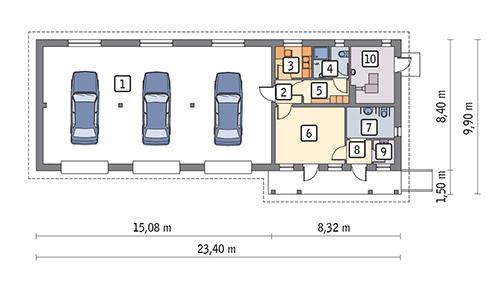 Rzut parteru POW. 160,7 m²