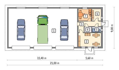Rzut parteru POW. 162,0 m²